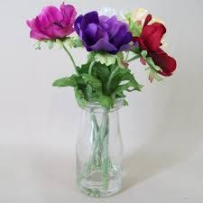 Fake Flower Arrangements Flower Arrangements Silk Anemones In Milk Bottle Vase Av004