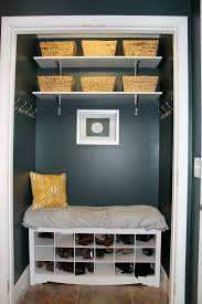 coat closet turned into mudroom nook perfect for small entry ways