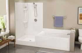 Bathroom With Bath And Shower Built In Bathtub Shower Combination Rectangular Acrylic