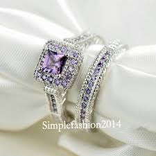 amethyst engagement ring sets brand jewelry antique jewelry birthstone cz 10kt white gold filled