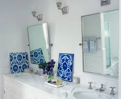 pivot mirror bathroom transitional with limestone tile flooring