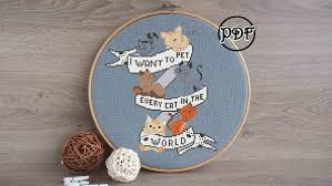 pattern art pdf kitten cross stitch pattern pdf cat embroidery hoop art cat