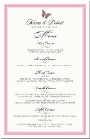 butterfly themed wedding menu cards special event menu cards