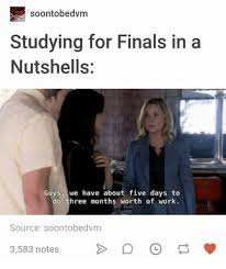 Studying For Finals Meme - soontobedvm studying for finals in a nutshells guys we have about