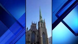 church steeples wind bends steeple of historic fort presbyterian church