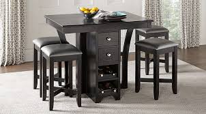 Bar Stool And Table Sets Ellwood Black 5 Pc Bar Height Dining Set Dining Room Sets Black