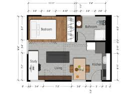 simple floor plans forudio apartments with kitchen and living