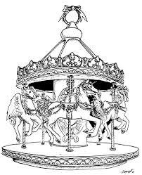 carousel horse coloring pages lineart carousel animals
