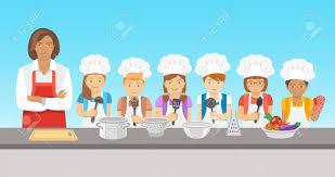 cours de cuisine en groupe enfants cours de cuisine illustration plat groupe heureux amusement