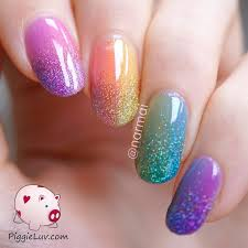 double gradient glitter rainbow nail art with opi sheer tints