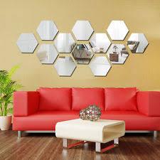 mirror decals home decor 12pcs hexagonal silver acrylic 3d mirror wall decal decor vinyl