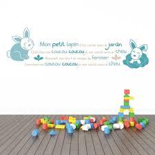 stickers chambre bb sticker mural comptine lapins bleus motif bébé garçon pour