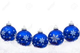 White Christmas Tree With Blue Decorations Blue Christmas Ornaments With Snowflakes And Snow Isolated On