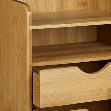 bureau en bambou organiseur de bureau en bambou casier de rangement 20 x 21 cm