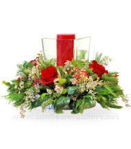 Christmas Hurricane Centerpiece - christmas flower arrangements gift baskets red poinsettias flowers