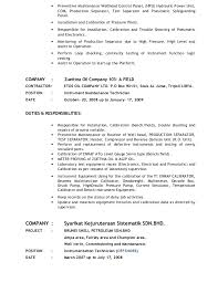 Example Resume For Maintenance Technician by Instrumentation Technician Resume Contegri Com