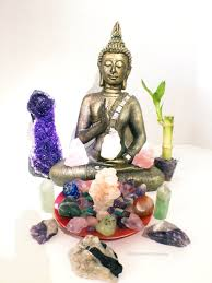 Positive Energy Home Decor by Meditating Buddha Positive Energy Crystal Altar With Large