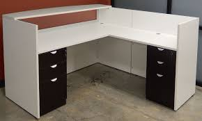 White L Shape Desk White Woodgrain U Shaped Reception Desk