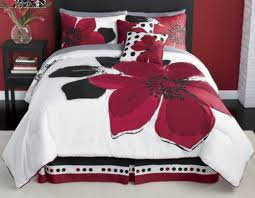 Black And Red Comforter Sets King 8 Pieces Marisol Red Black White Comforter Bed In A Bag Set Queen