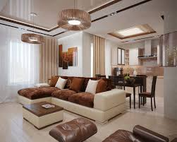 the interior of a living room in brown color features photos of