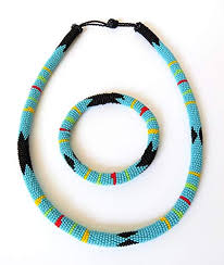 blue beaded necklace images African zulu beaded necklace and round bracelet set jpg