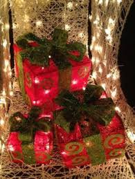 large outdoor lighted gift boxes decorations seasonal