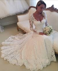 Long Sleeve Lace Wedding Dress Open Back New Long Sleeves White Ivory Lace Wedding Dresses Bridal Gown