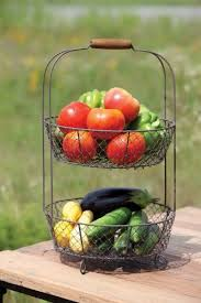 fruit and vegetable basket vintage style two tiered vegetable basket stand