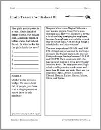 brain teasers puzzle worksheet 1 student handouts