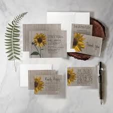 Wedding Invitations And Thank You Cards Rustic Sunflower Wedding Invitation Set Suite Printed Printable