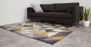 grey mustard yellow rug large wool tufted geometric 160 x 230cm