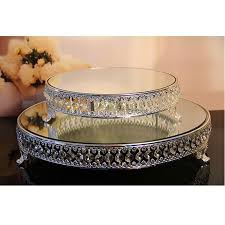 silver wedding cake stand top quality shape silver plate metal acrylic strand