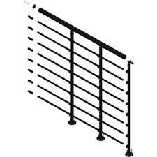 metal landing banister and railing dolle oslo 3 5 ft black powder coated painted steel stair railing