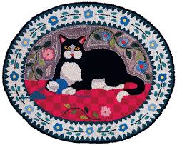 country cat hand hooked rug claire murray