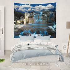Livingroom Art Waterfall Wall Tapestry Nature Wall Decor Night Waterfall Wall