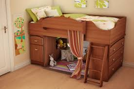 South Shore Imagine Loft Bed Bunk Beds With Stairs Twin Over Full Lacquered Mahogany Wood Bunk