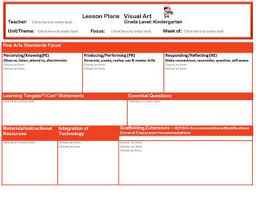 ohio kindergarten music and visual art lesson plan templates for