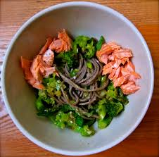 soba bowls with tea poached salmon figsinmybelly