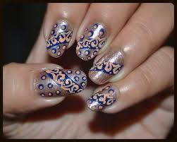 lace nail design tutorial blue and gold nail art love for nail