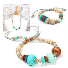 necklace gift sets images Anthropologist bohemian turquoise wood silicone teething necklace jpg