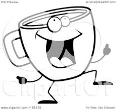 cartoon clipart of a black and white coffee cup doing a happy