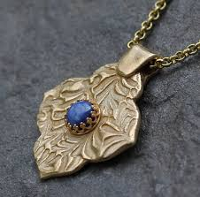 metal necklace designs images Star sapphire and gold metal clay necklace with mehndi quatrefoil jpg