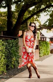 red summer dress with cowgirl boots naf dresses