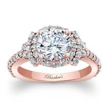 Halo Wedding Rings by Barkev U0027s Rose Gold Halo Engagement Ring 7979lp