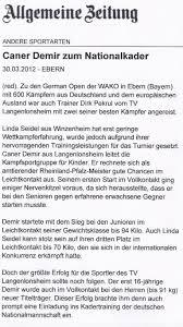 Allgemeine Zeitung Bad Kreuznach Presse Kickboxen