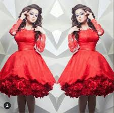 red lace short cocktail dresses long sleeves off shoulder hand
