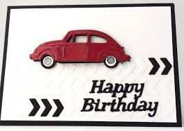 red volkswagen beetle 3d red vintage vw beetle unique handmade card man u0027s
