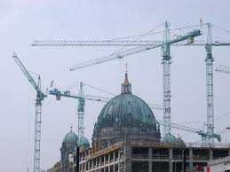 free stock photo of berlin cathedral dome with construction cranes
