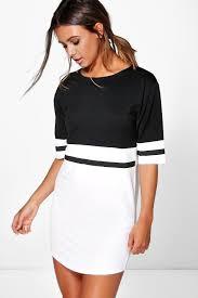 shift dress caris curve hem colour block shift dress boohoo
