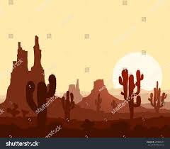 landscape sunset stone desert cactuses mountains stock vector
